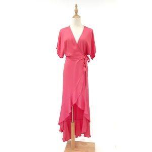 Young Fabulous & Broke Pink Wrap Dress Midi Maxi